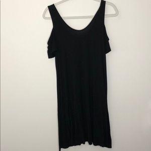 Black, cold shoulder dress